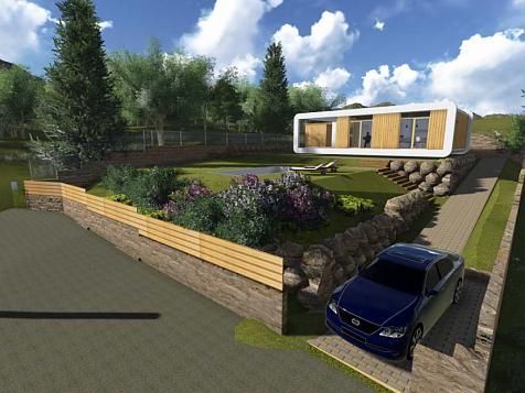 Jardín autóctono sostenible para vivienda bioclimática ecológica
